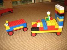 jufjanneke.nl - De supermarkt, bevoorrading door vrachtauto's door lego.
