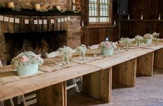 Bridal party head table with farm tables from T&T Farm Tables and Bar Rentals in rustic barn in Solebury, Pennsylvania Farm Tables, Wedding Rentals, Rustic Barn, Pennsylvania, Rustic Wedding, Dining Table, Bridal, Party, Home Decor