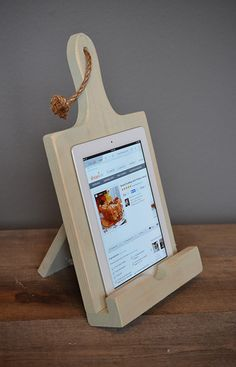 Kitchen Stand Cookbook Holder iPad Stand by UptownArtisan - mineral green Cook Book Stand, Book Stands, Small Wood Projects, Diy House Projects, Diy Wood Books, Wooden Cafe, Wood Phone Stand, Cookbook Holder, Diy Workshop