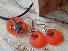 Orange Glass Jewelry Set Necklace Earrings by UniqueChiqueJewelry