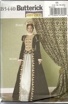 B5440 Making History. Average. Tudorish long sleeved dress. Close-fitting, lined and partially interfaced top has princess seams. Mutton-chop sleeves. Bejewelled and embellished. Sizes 14-20. Velvet, brocade, shantung, silk. 2009. Bought in Jo-Ann's sale for $ 1.99.