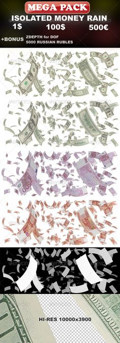 Isolated Money Rain Mega-Pack (1$, 100$, 500€)  #GraphicRiver         Great collection, usable for images in design of sites, banners, booklets, posters, articles in magazines and more…   Pack includes 3 variation of money, Dollars, Euro and Russian rubles.   In ZIP file you will find 4 PSD files, with 3 layers inside: - money layer with DOF effect on white background - money layer - Zdepth layer (you can use it for your own DOF settings)   PSD file is layered and well organized. Hi-Res…