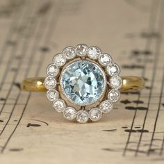 RESERVED Edwardian Aquamarine and Diamond Cluster Ring