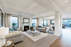 Living room in the Plaza with a Champagne France World of Style. Home Interior Design, Interior Decorating, Interior Ideas, Modern Interior, Living Room Designs, Living Room Decor, Living Spaces, Porter Davis, Bungalow Renovation