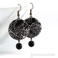 Black and White Jewelry, Floral Fabric Button Earrings - Art Deco Night via Patchwork Mill. Black and White Jewelry, Floral Fabric Button Earrings - Art Deco Night #blackandwhite #artdeco #earrings #flowers