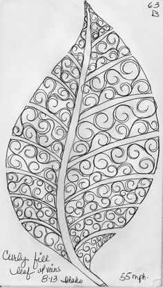 More Leaf Designs from My Quilting Sketch Book. This leaf has no vein sections. instead each half of the leaf is filled in with 2 different curl patterns. This leaf has veins. each sepa Zentangle Patterns, Embroidery Patterns, Quilt Patterns, Zentangles, Machine Embroidery, Graphisches Design, Leaf Design, Book Design, Longarm Quilting