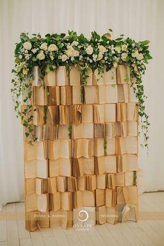 Library Wedding, Wedding Book, Rustic Wedding, Our Wedding, Dream Wedding, Storybook Wedding, Backdrop Design, Photo Booth Backdrop, Wedding Themes