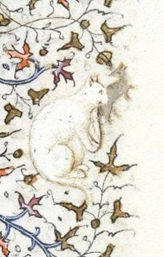 Cat Holds a Grey Mouse Source: P. Morgan Library, New York White Cat Holds a Grey Mouse Source: P. Morgan Library, New YorkWhite Cat Holds a Grey Mouse Source: P. Morgan Library, New York Medieval Life, Medieval Art, Illuminated Letters, Illuminated Manuscript, Michel Leiris, Animal Gato, Book Of Hours, Medieval Manuscript, White Cats