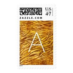 Faux Gold Zebra Stripes Monogram Postage Stamp