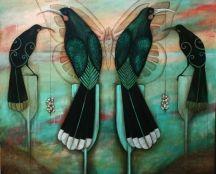 Kathryn Furniss NZ Art Show - huias (extinct NZ birds) Art Maori, Bird Sketch, Maori Designs, New Zealand Art, Nz Art, Art Diary, Kiwiana, Dance Art, Art Portfolio