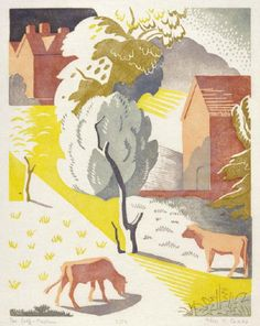 The Calf Pasture 1933 by Alice Coats linocut