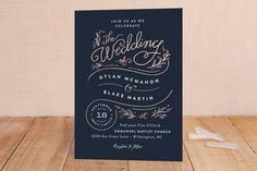 """Rolling Names"" - Rustic, Whimsical & Funny Foil-pressed Wedding Invitations in Rose Gold by Jennifer Wick."