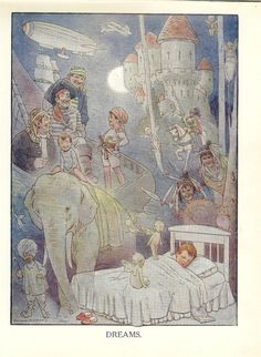 1920's Children's Print Dreams Boy In Bed Asleep and Dreaming