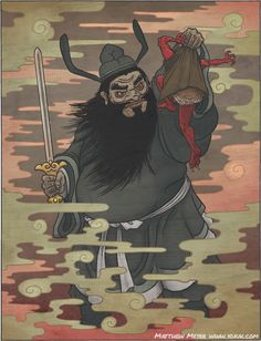 """Shōki (Chinese name, Zhong Kui) is a legendary hero and deity from ancient China. He is usually shown carrying a sword and wearing a court official's cap. Known as """"the demon queller"""" for his ability to vanquish, exorcise, and even control ghosts and demons."""