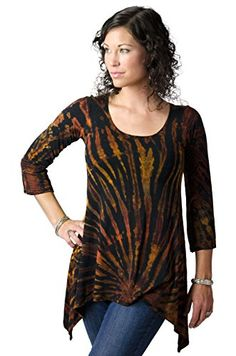 TCG Women s Tie-Dye Three-Quarter Sleeve Tunic at Amazon Women s Clothing  store  de45dc5c5161