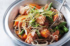 Salmon and sweet potato soba noodles http://www.taste.com.au/recipes/31363/salmon+and+kumara+soba+noodles
