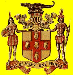 """Coat of Arms of Jamaica portraying Arawak Indians, (indigenous people of Jamaica who settled there from South America long before Christopher Columbus """"discovered"""" the island) with Jamaica's national motto, """"Out of Many, One People"""". Jamaican Tattoos, Puerto Rico, Jamaica National, Jamaican Art, Jamaican Quotes, National Symbols, Christopher Columbus, Negril, My Roots"""