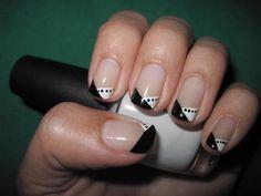 gotta try tuxedo nails French Nails, Get Nails, Hair And Nails, Prom Nails, Tuxedo Nails, Nail Art 2014, Nails 2015, Nailart, White Tip Nails