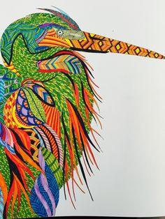 Millie Marotta Animal Kingdom Bird using Connector Pens using a colour scene found onlone