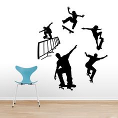 Skateboarding Set Sports Wall Decals, Stickers