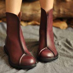 ARTMU阿木秋冬新款个性拼接休闲马丁靴唯美舒适牛皮森女帅气女鞋大图