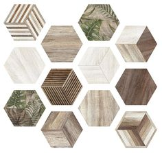 Africa, Hexagon tile look like mixed timber with green leaves decor.