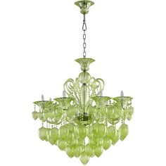 Bella Vetro 8-Light Chandelier ($2,390) ❤ liked on Polyvore featuring home, lighting, ceiling lights, green, 8th light, t8 light, hanging chain lamp, green lights and chain lamp