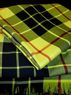 Macleod of Lewis Tartan Plaid Scarf~Yellow Black Plaid Scarves Macleod Tartan, Clan Macleod, Black Plaid, Yellow Black, Royal Stewart Tartan, Tartan Plaid Scarf, Fringe Scarf, Long Scarf, Color Patterns