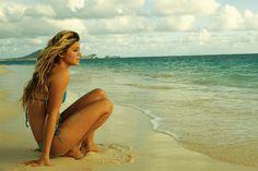 At the beach - MemePix Bikini Beach, Bikini Swimwear, Bikinis, Swimsuits, Summer Surf, Summer Time, Bikini Inspiration, Girls Vacation, Beach Poses