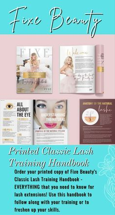 """Order your printed copy of Fixe Beauty's Classic Lash Training Handbook - EVERYTHING that you need to know for lash extensions! Use this handbook to follow along with your training or to freshen up your skills. This Handbook is the """"Lash Bible"""" and an absolute must-have for all students serious about lashing! Whether you have taken your Lash Training or you are a self-starter and looking to learn on your own or see if lashing is for you, this manual has everything you need to learn, review, and Natural Eyelashes, For Lash, Lash Glue, All Things Beauty, Blog Tips, Eyelash Extensions, Mascara, Helpful Hints, Eyeshadow"""