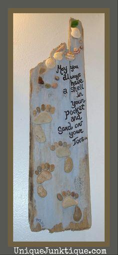 found object assemblage beach sign (uniquejunktique.com)