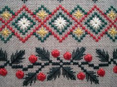 Kreinik Silk Mori and Silk Serica in Evergreen Sampler design.