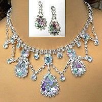 The necklace in this eye-catching rhinestone jewelry has a lacy design that incorporates larger iridescent crystals for a stunning look.  With the growing popularity of iridescent crystals, this rhinestone necklace set will be popular with all age groups including prom girls.  Find wholesale rhinestone jewelry that fits your customers' tastes by clicking on the link. http://www.awnol.com/store/Rhinestone-Jewelry/Rhinestone-Sets