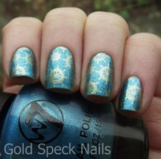 Base Coat: CND - Stickey Base Colour: W7 - Aqua Suede Stamping Colour: Barry M - Gold Foil Image Plate: Cheeky CH49 Top Coat: Sally Hansen Advanced Hard As Nails