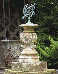 Beautiful French garden stand with metal orb. Beautiful French garden stand with Formal Gardens, Outdoor Gardens, Parks, Garden Urns, Garden Gate, Garden Stand, Garden Architecture, Sundial, Garden Features