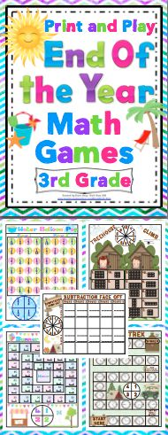 End of the Year 3rd Grade Math Games (Print and Play: No Prep) - Relax and enjoy the end of the year with your students with this set of 15+ print and play math games. These games are fun and and review key 3rd grade math concepts. $
