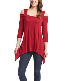 Look what I found on #zulily! Red Cutout-Shoulder Sidetail Tunic #zulilyfinds