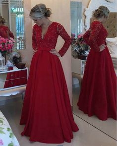 Beautiful Red Long Sleeve Evening Party Gown 2016 gala jurken Applique Arabic Style A Line Night Party Dresses-in Evening Dresses from Weddings & Events on Aliexpress.com | Alibaba Group