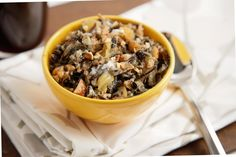 Wild Rice Porridge with Cardamom, Pecan, and Pear.  Sub out the cream for milk or something.