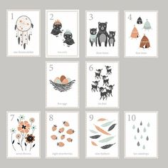 Boho Woodland Number Cards
