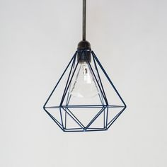 Handmade Diamond Wire Cage Pendant Lamp