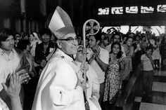 Jan 1, 1979 - San Salvador, El Salvador - EXCLUSIVE - The martyr Archbishop Oscar Romero of El Salvador is welcomed by congregants before a mass in his Church of the Divine Providence in San Salvador, El Salvador where he was later slain at the alter by a right wing gunman in 1980. Oscar Arnulfo Romero y Galdamez was a bishop of the Catholic Church in El Salvador. He became the fourth Archbishop of San Salvador, succeeding Luis Chavez, and spoke out against poverty, social injustice…