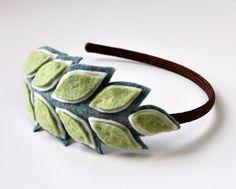 Laurel Leaf Felt Headband Light Green by RuthCreates on Etsy, $20.00