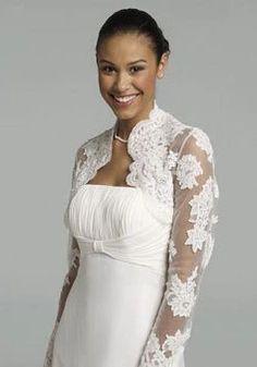 Elegant Custom made Long Sleeve Lace Appliques White Bridal Jacket Wedding Bolero Shrugs Cape 2014