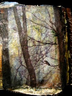 """Book of Trees"""" detail of encaustic and mixed media page on plaster"""