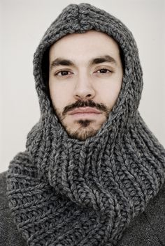 "Knitting Inspiration.  ""Winter is Coming"" Knights hood.  This would be fun to make."