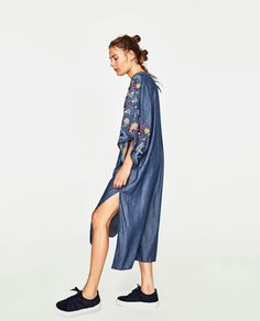 ZARA - WOMAN - EMBROIDERED MULTICOLOURED DRESS