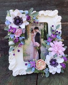 Купить Фоторамка с цветами из полимерной глины - цветы ручной работы, подарок на день рождения