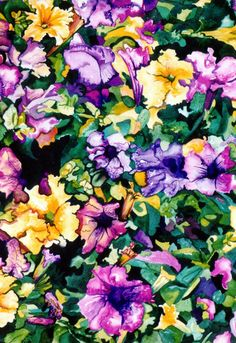 Floral, Abundance of Petunias,Hand Painted Wall Art Watercolor Painting - Complementary Colors of Yellow and Violet
