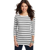 Twin Stripe Boatneck 3/4 Sleeve Cotton Tee - In a sporty striped pattern, we can't get enough of this unbelievably soft cotton boatneck - for always flattering style. Banded neckline. 3/4 sleeves.